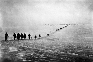 Kampgangers op de ijsvlakte