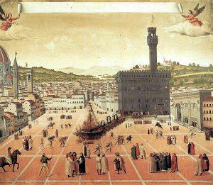 Ophanging en verbranding van Girolamo Savonarola op Piazza della Signoria in Florence, 1650, schilder onbekend.