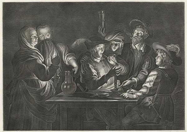 Rokende en drinkende mannen in een herberg, Nicolaes Lauwers, naar Gerard Seghers, 1619 - 1652